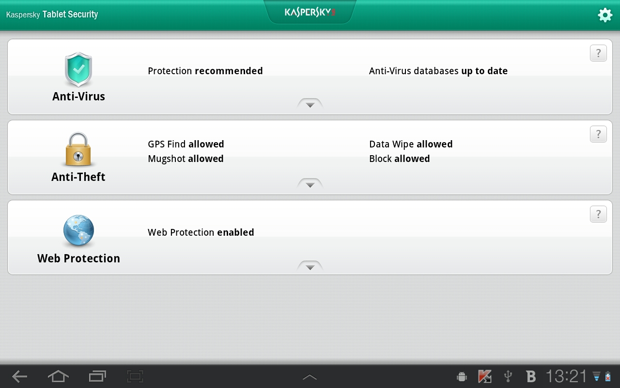 Новый Kaspersky Tablet Security для Android.