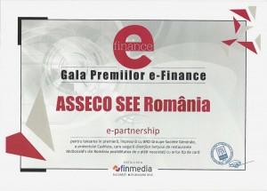 Asseco SEE și BRD Groupe Société Générale premiate la GALA eFinance 2015