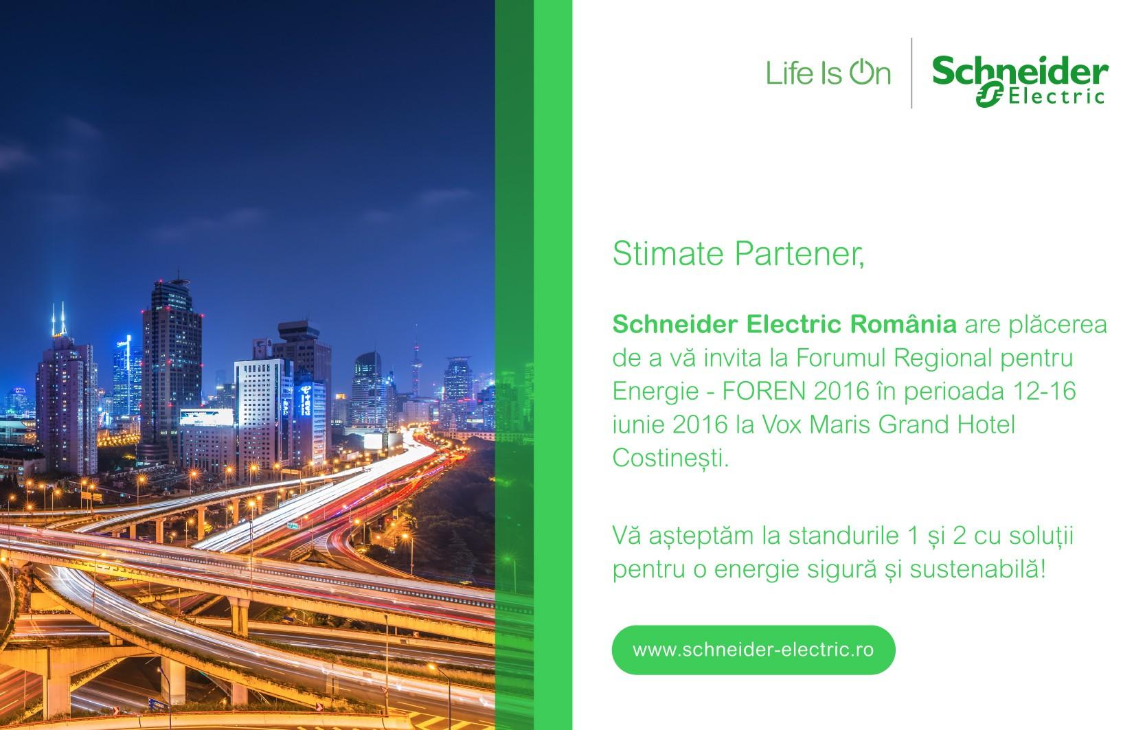 Schneider Electric prezinta solutii pentru o energie sigura si sustenabila la FOREN 2016
