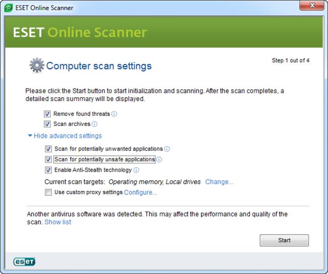 Noua versiune ESET Online Scanner