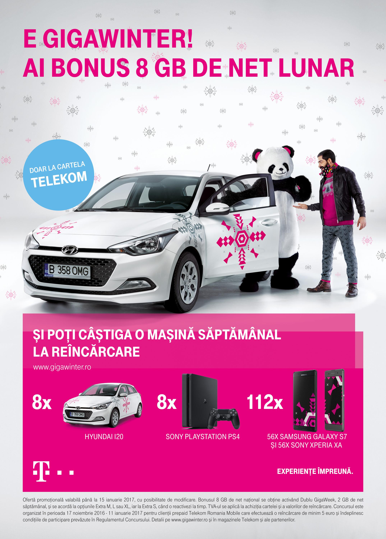 Noua ofertă GigaWinter cu 8 GB bonus lunar și premii la  reîncărcarea Cartelei Telekom