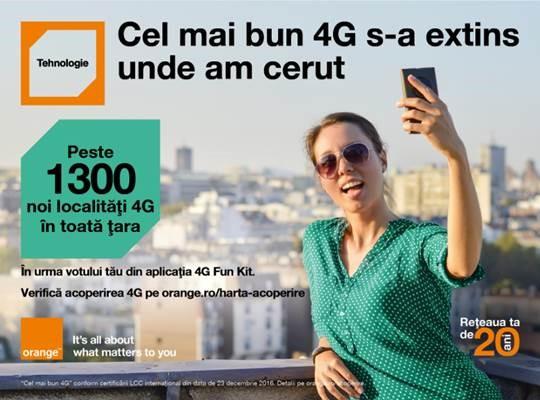 Orange extinde acoperirea 4G în urma votului clienților din aplicația Orange 4G Fun Kit