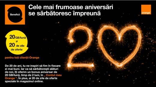 Orange sarbatoreste 20 de ani alaturi de clienti si rasplateste loialitatea cu 20 GB/luna, timp de 2 luni