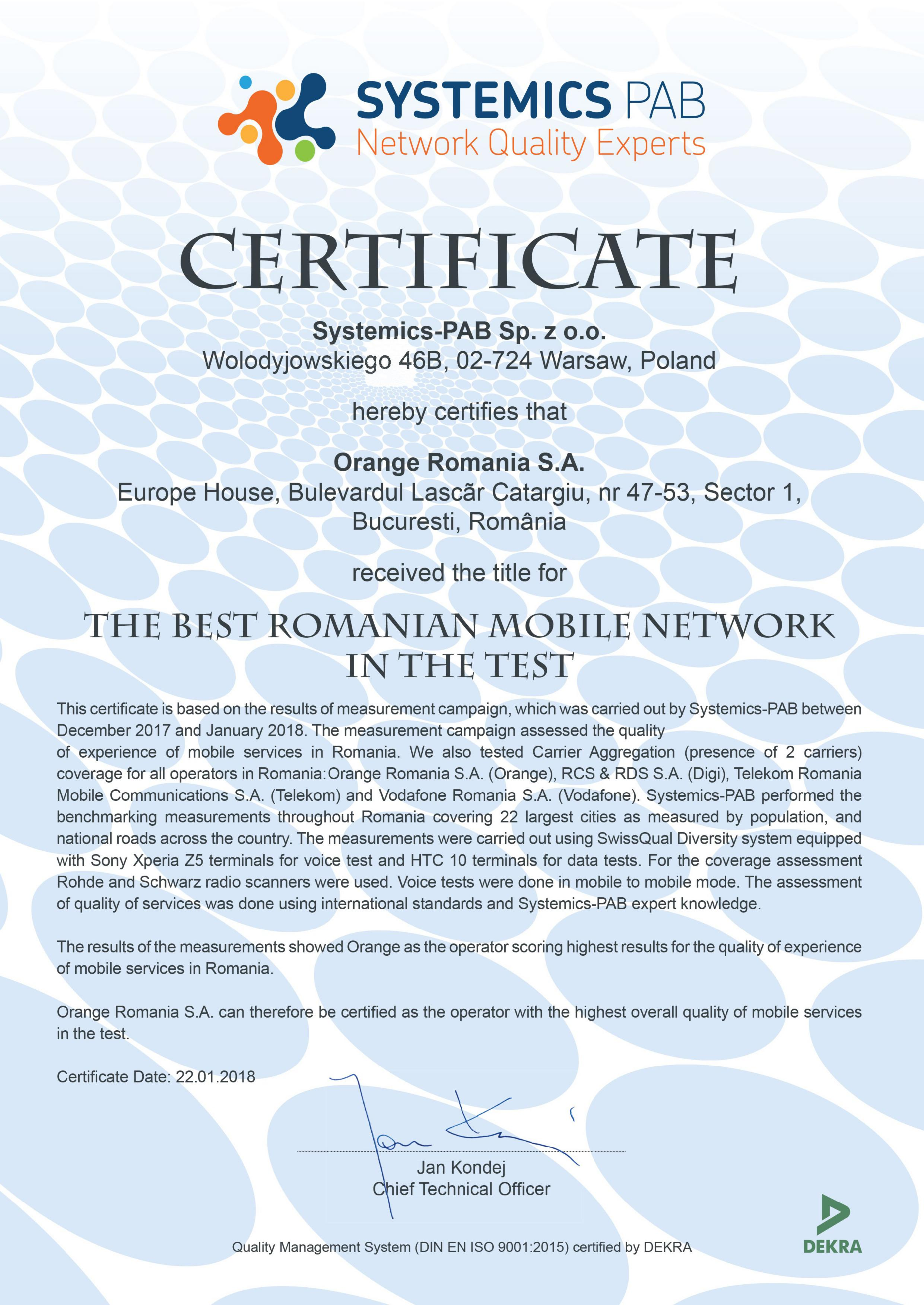 Certificare Systemics