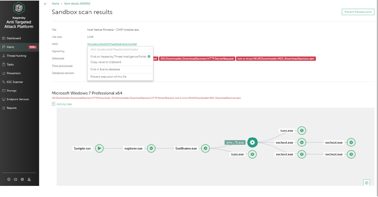 Kaspersky EDR Screenshot_ Sandbox Scan result