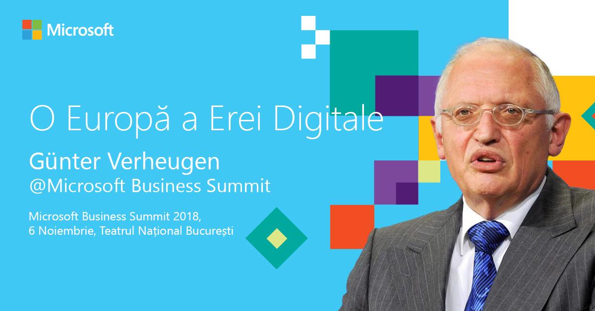Günter Verheugen pe scena Microsoft Business Summit