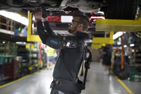 EksoVest is the latest example of advanced technology Ford is using to reduce the physical toll on employees during the vehicle assembly process, lessening the chance of worker fatigue, injury or discomfort