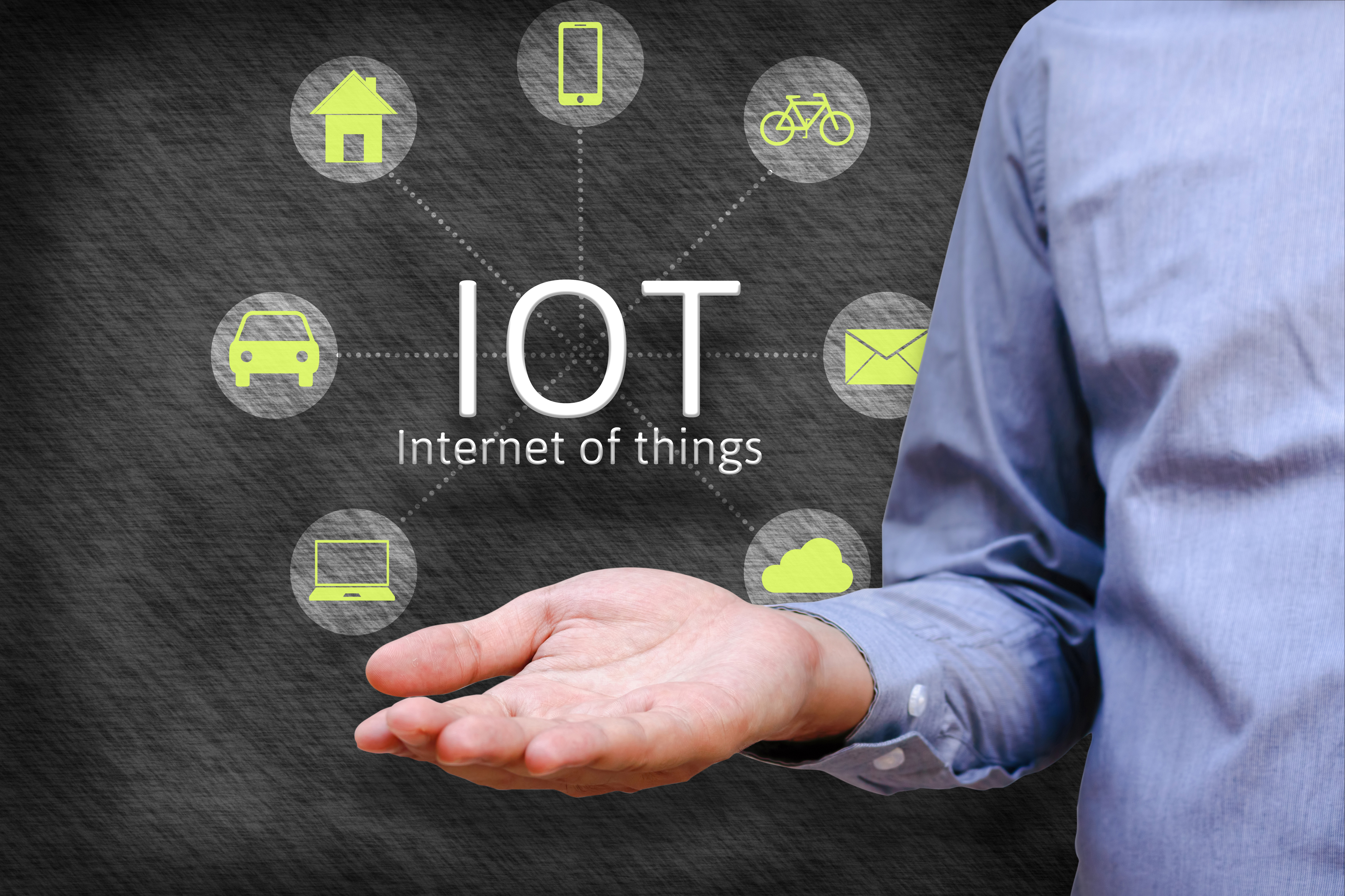 Internet of things (IoT) concept. Man show iot link network