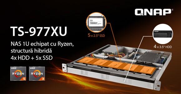 QNAP TS-977XU, primul NAS 1U cu structură hibridă, echipat cu procesoare AMD Ryzen