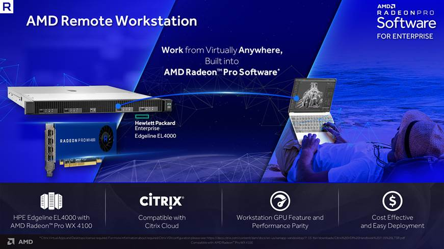 AMD Remote Workstation acum valabil pe workstation-ul HPE Edgeline EL4000 Engineering cu Radeon Pro WX 4100