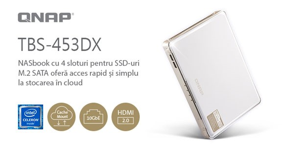 QNAP a lansat TBS-453DX NASbook cu patru SSD-uri M.2 SATA, 10GbE și alocare de stocare în cloud cu cache local