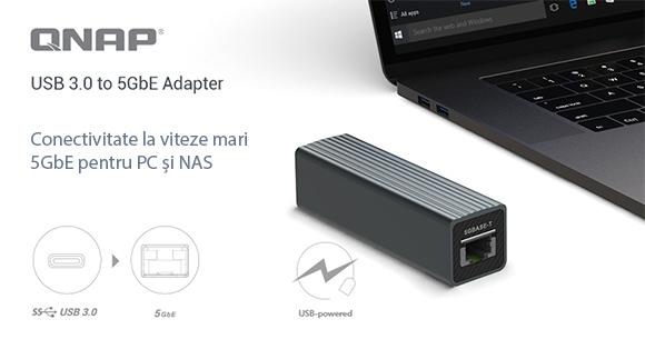 QNAP prezintă adaptorul QNA-UC5G1T USB 3.0 la 5GbE pentru conectivitate 5GbE/2.5GbE/1GbE/100MbE