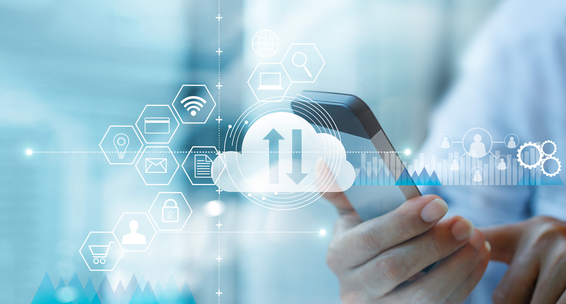 Businessman using mobile smartphone and connecting cloud computing service with icon customer network connection. Cloud device online storage. Cloud technology internet networking concept.