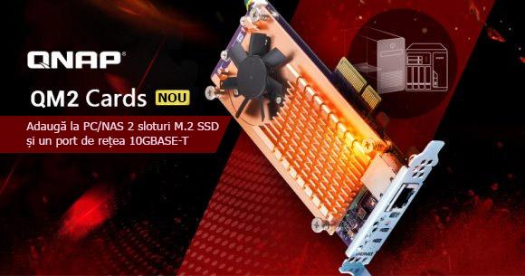 QNAP a introdus noile plăci QM2 PCIe pentru PC/NAS ce oferă două sloturi M.2 SSD și unul 10GbE