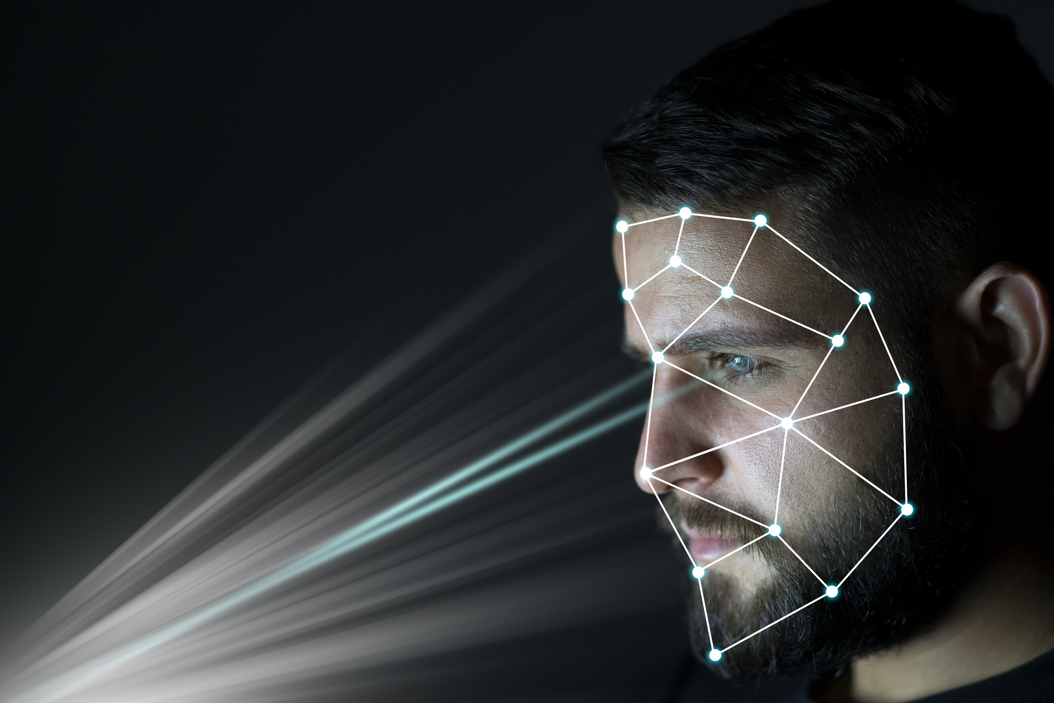 Biometric identification and verification face detection concept. Facial recognition system. Unlocking technology.