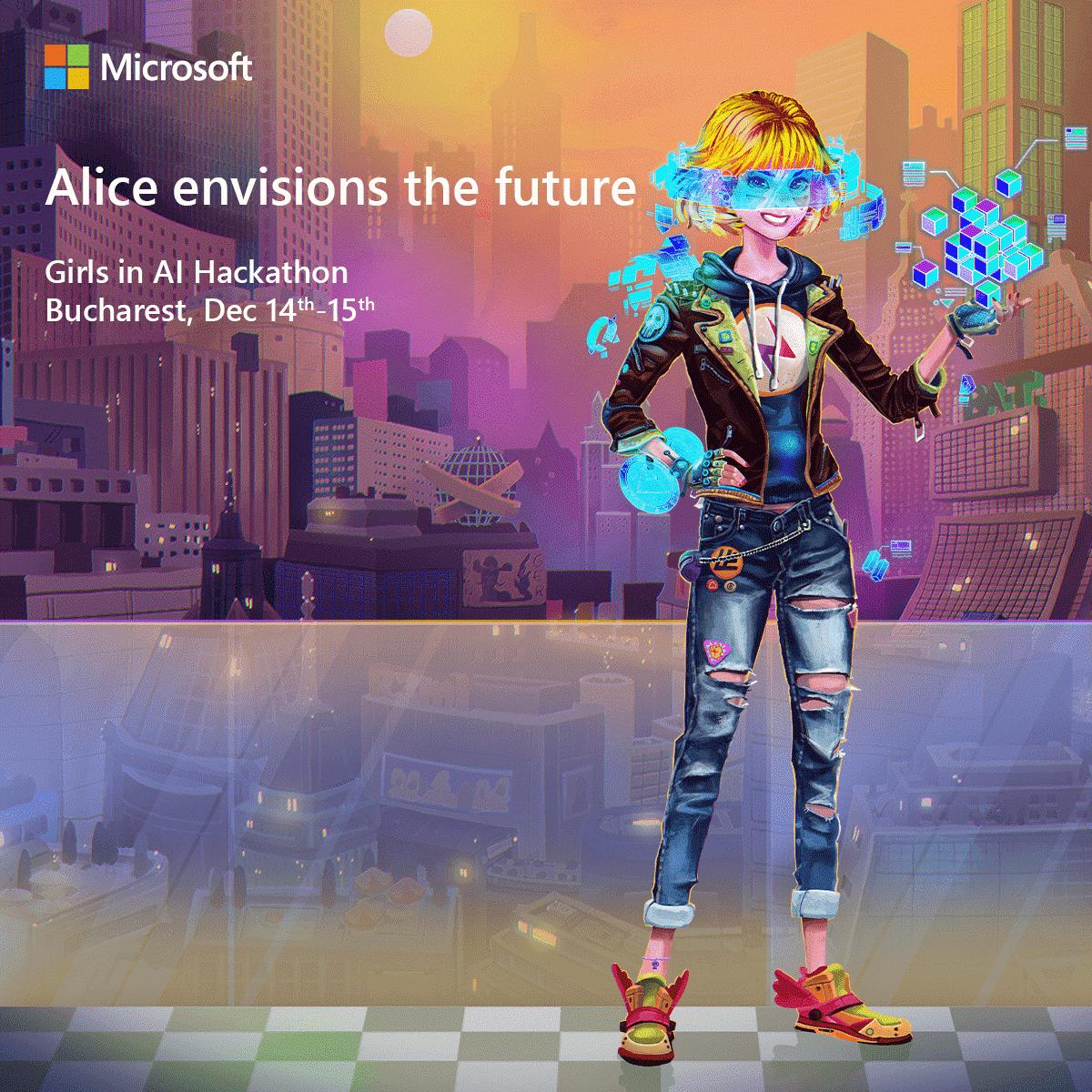 Alice envisions the future, Girls in AI Hackathon – primul eveniment AI destinat elevelor din România