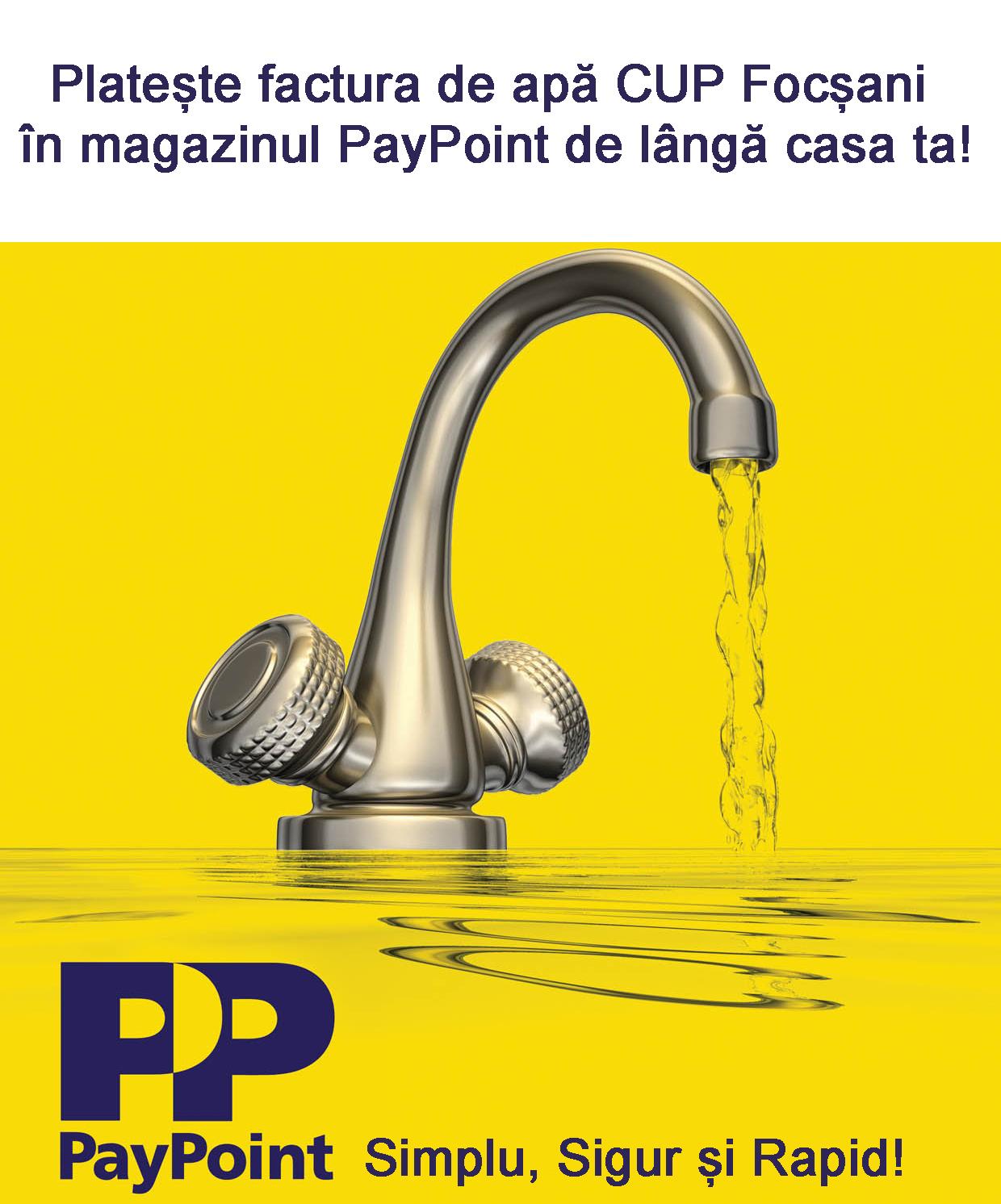 Facturile CUP Focșani pot fi plătite prin PayPoint