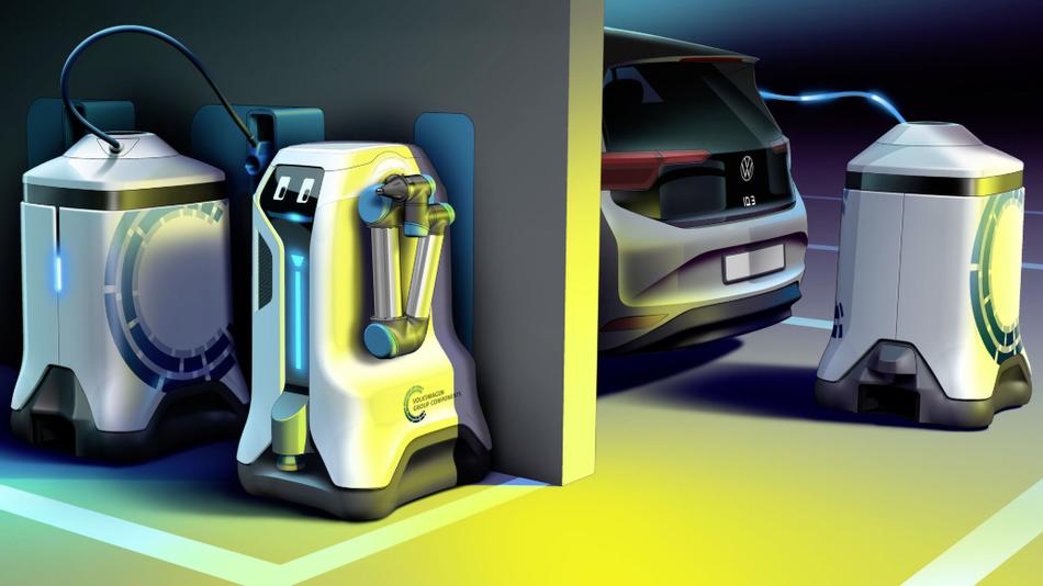 Volkswagen a construit un robot care poate găsi mașina electrică într-o parcare pentru a o reîncărca