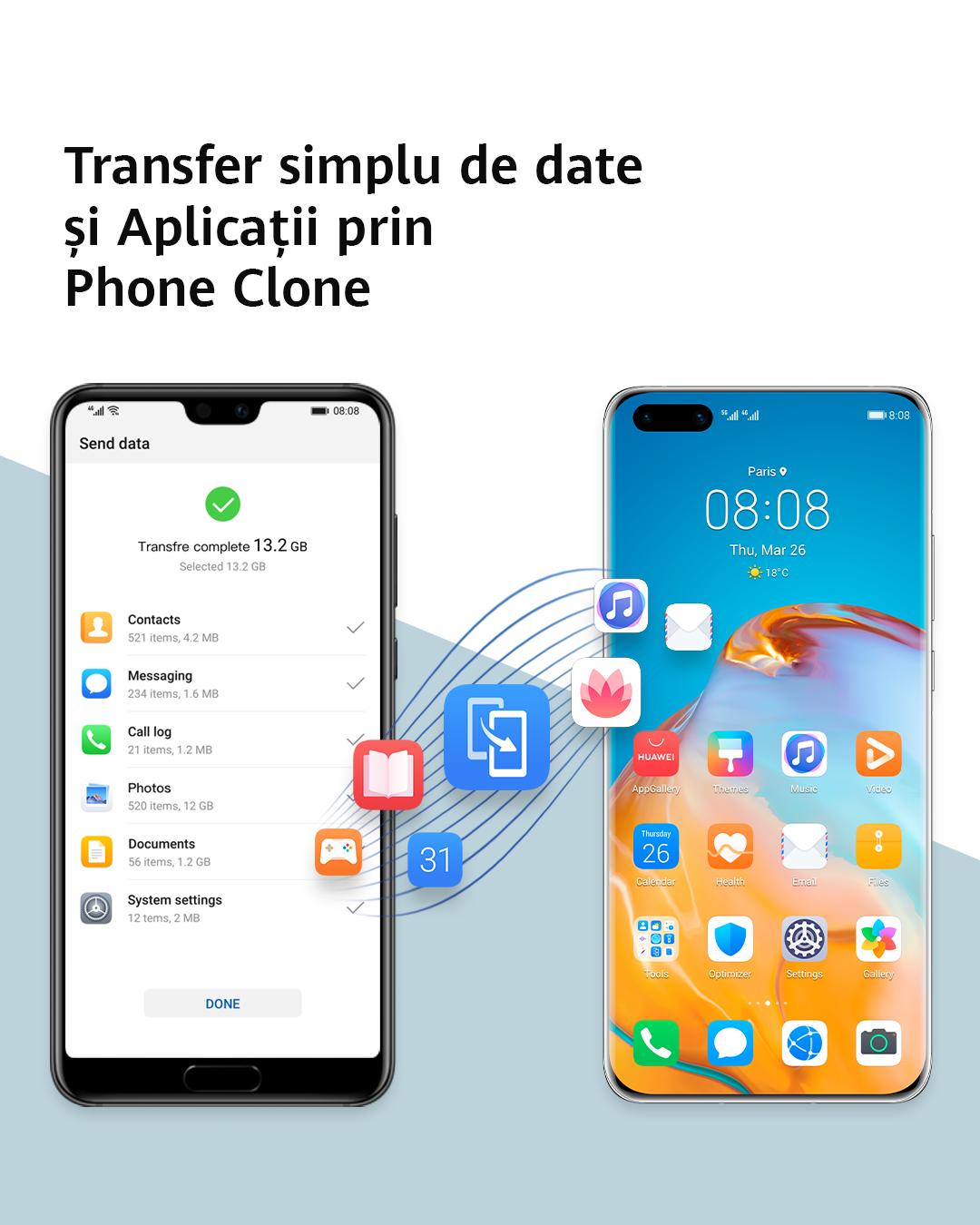Phone Clone, aplicația care transferă fără efort datele pe noul telefon Huawei din vechiul dispozitiv