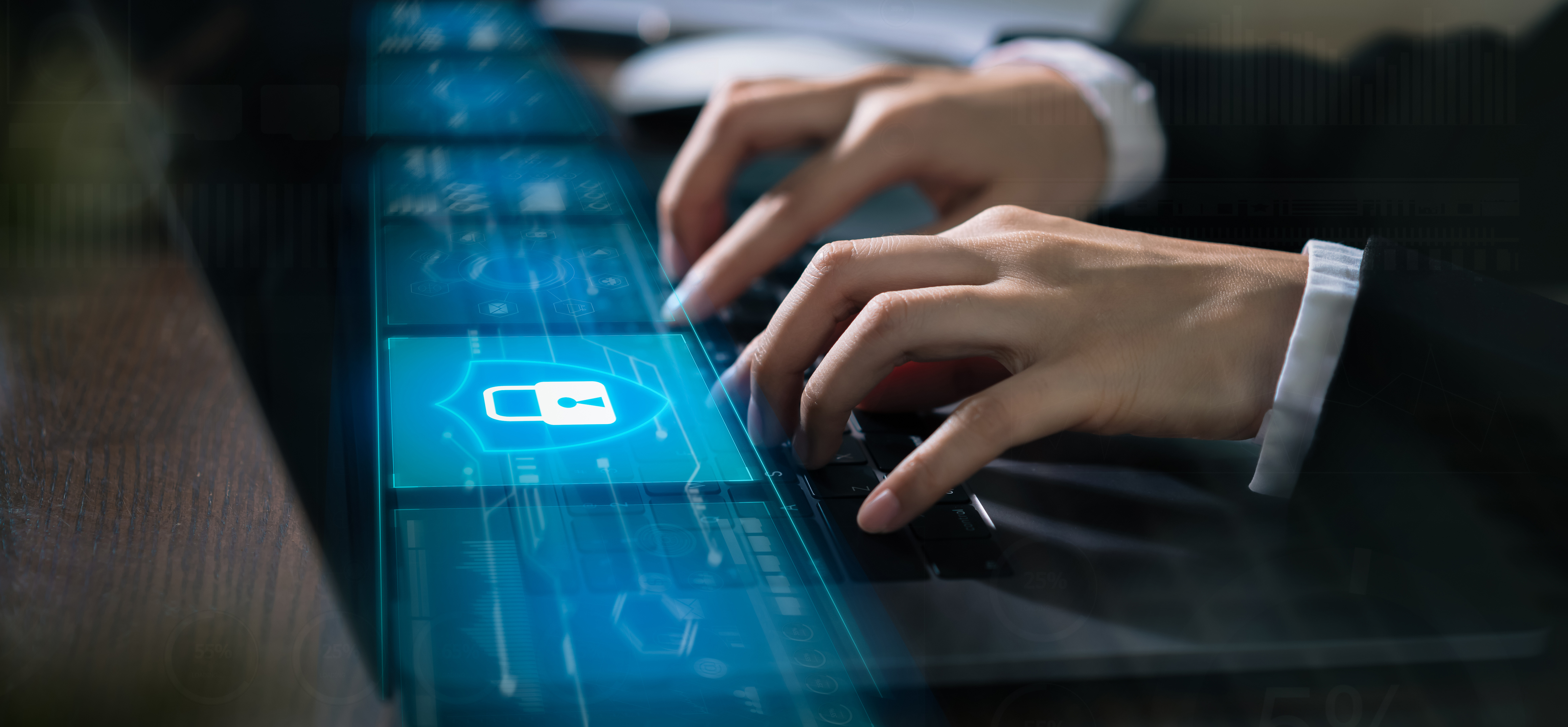 Technology concept with cyber security internet and networking, Businessman hand working on laptop, screen padlock icon on digital display.