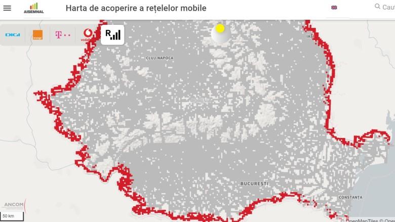 Harta Aisemnal.ro, actualizată cu localitățile cu risc de roaming involuntar