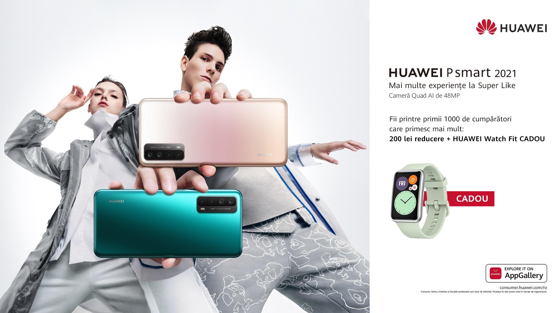 HUAWEI P smart 2021: Mai multe experiențe cu o cameră foto cu rezoluție mare AI Quad și o baterie generoasă de 5000 mAh