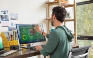Creat să îmbunătățească experiența de lucru, monitorul HP E24t G4 Touch permite utilizatorilor să interacționeze cu conținutul de pe ecran și să finalizeze sarcinile mai repede, printr-o atingere.