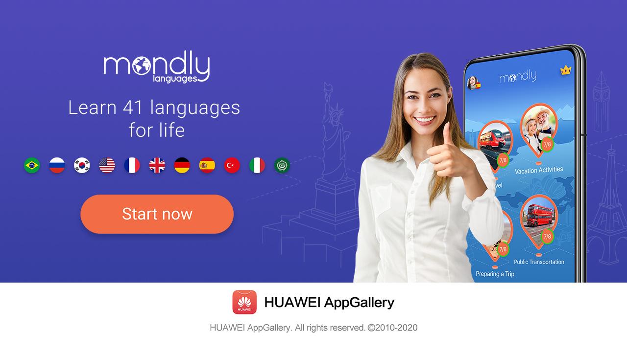 Mondly – interes crescut pentru noua platformă de învățare a limbilor străine din HUAWEI AppGallery