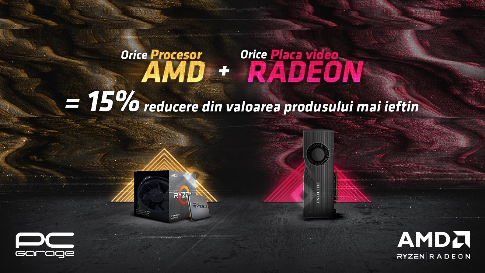 PC Garage oferă 15% reducere la orice achiziție de procesor AMD și placă video AMD