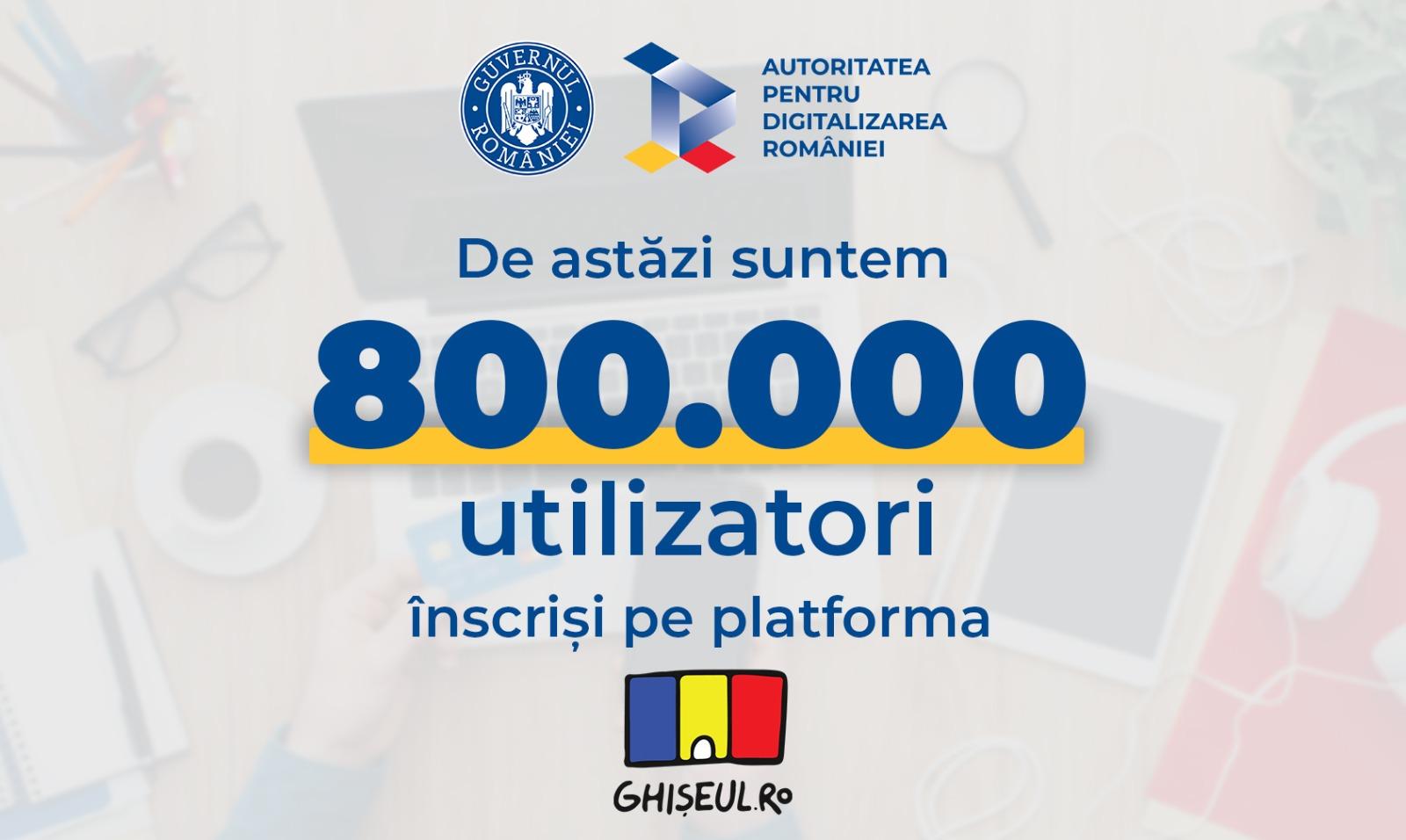 Peste 800.000 de utilizatori s-au înscris în platforma Ghișeul.ro