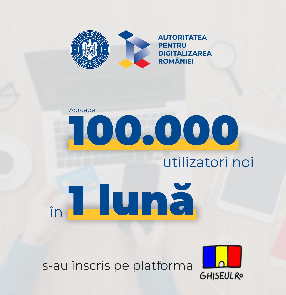 Câți utilizatori noi s-au înscris în luna ianuarie pe platforma Ghișeul.ro