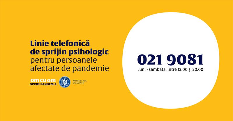 Linie telefonică de suport psihologic-emoțional gratuit pentru persoanele afectate de COVID-19
