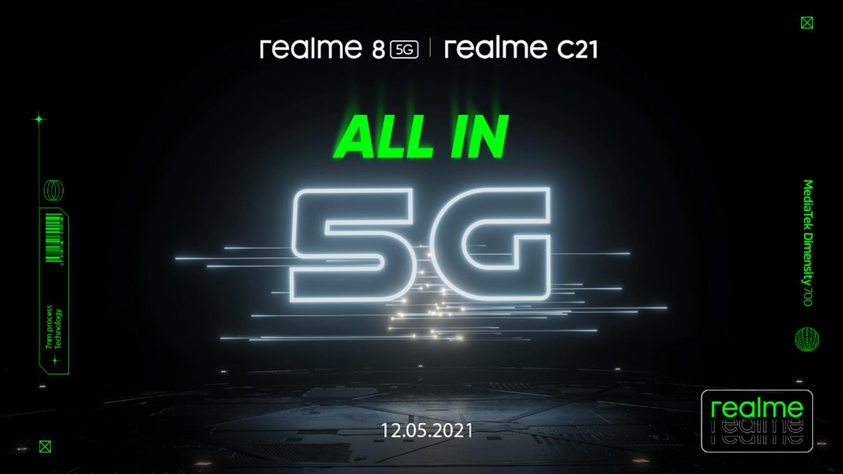 realme 8 5G și C21 vor fi lansate pe 12 mai
