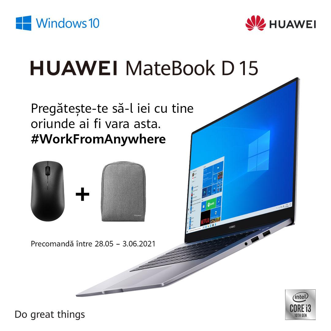 Noul MateBook D15 echipat cu procesorul Intel® Core i3