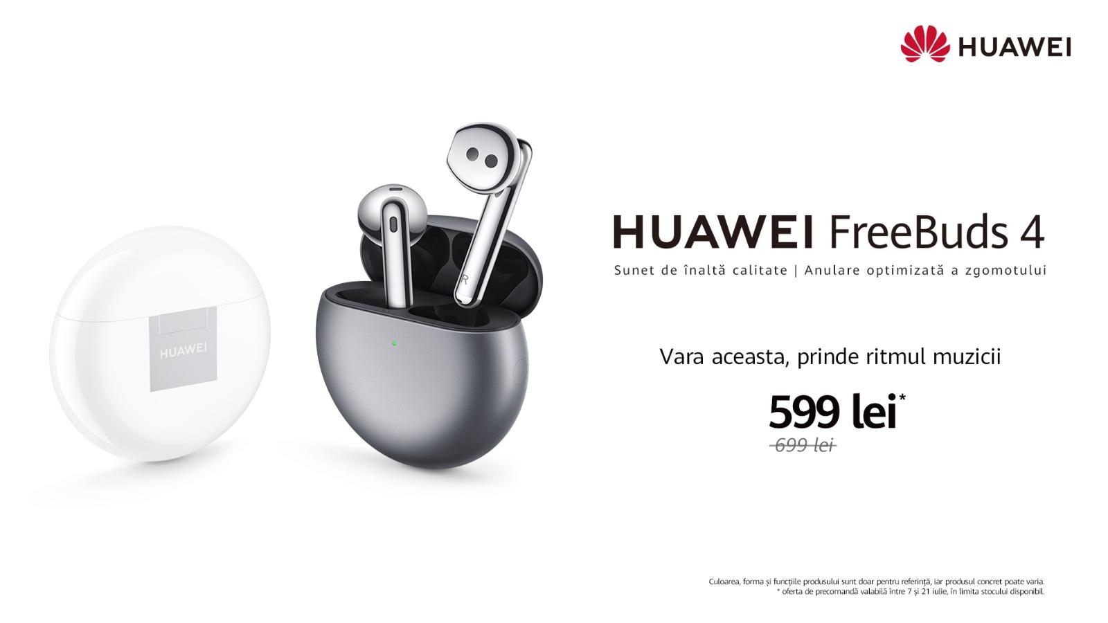 HUAWEI FreeBuds 4, primele căști True Wireless open-fit cu anulare activă a zgomotului