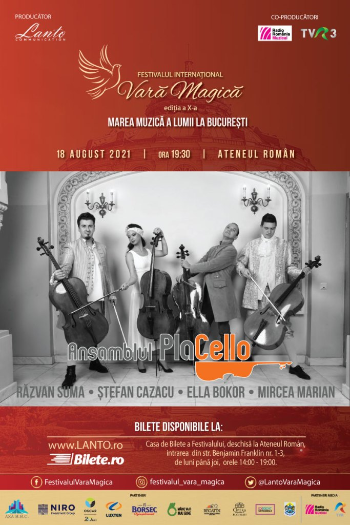 Ansamblul PlaCello – Cei patru violonceliști vor cânta în cadrul Festivalului Vara Magică
