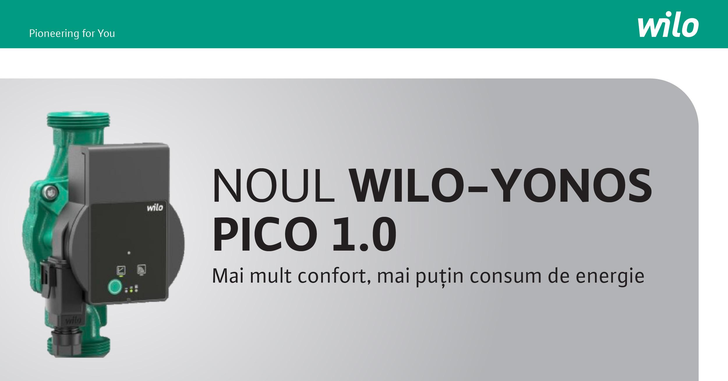 Wilo lansează o nouă pompă – Wilo-Yonos PICO 1.0