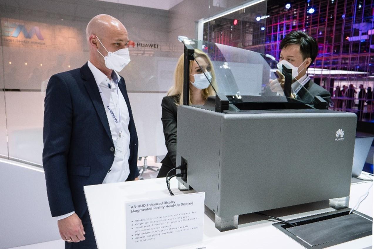 Demonstrație AR-HUD la standul Huawei