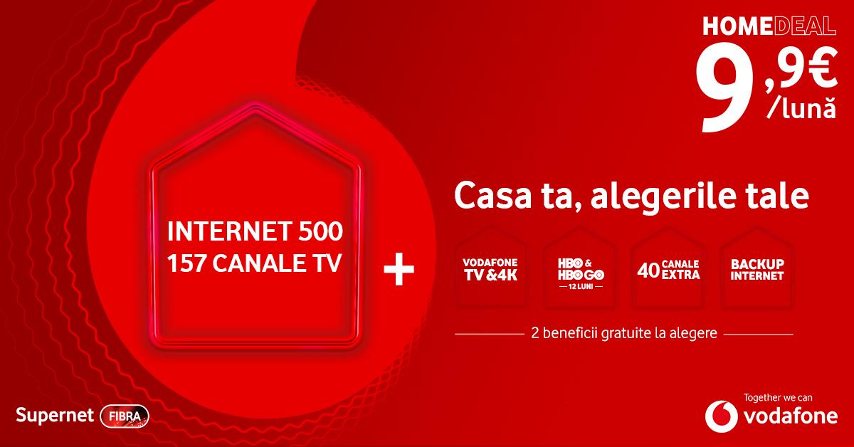 Internet si televiziune de la Vodafone la prețuri imbatabile, cu beneficii gratuite, la alegere